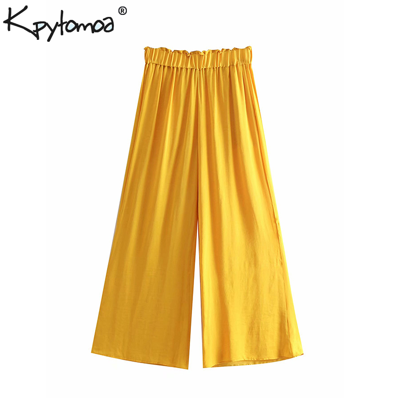 Vintage Stylish Soft Touch Pockets   Wide     Leg     Pants   Women 2019 Fashion High Elastic WaistLoose Trousers Casual Pantalones Mujer