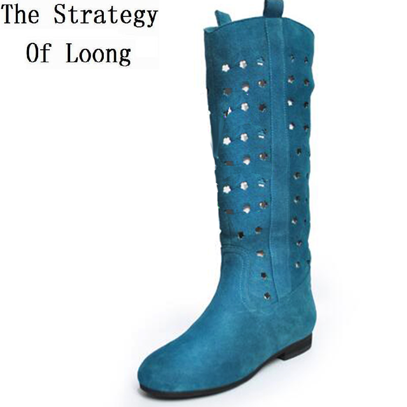 Genuine Leather Flats Women Cut Out Knee High Sandals Boots Woman Knight Summer Long Sky ...