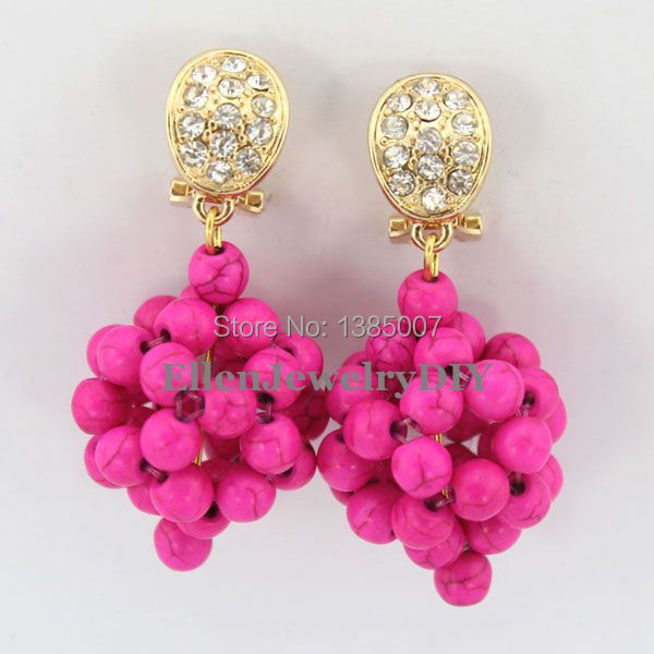 Hot Pink beautiful Beads Earrings,Nigerian beautiful Earrings Bridesmaid Earrings Wedding Gift African Bridal Jewelry