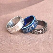 4 colores Vintage color plata 316L titanio Acero inoxidable Cruz texto Biblia joyería para hombres señor anillo de boda anillo Masculino