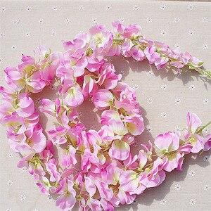 Image 3 - 11 adet yapay çiçek Wisteria vine 120cm tek Silk140 çiçekler serisi DIY bitkiler ev düğün dekorasyon duvar arka plan için