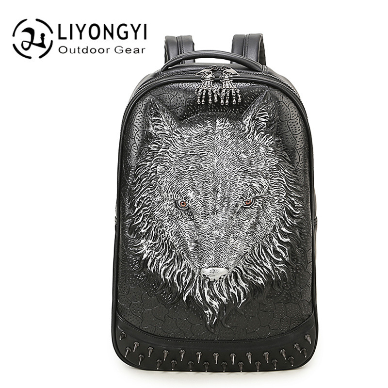 Fashion Personality 3D Wolf Fashion Backpack Women School Bags Travel bags For Teenagers Girls PU Leather Women Backpack Mochila