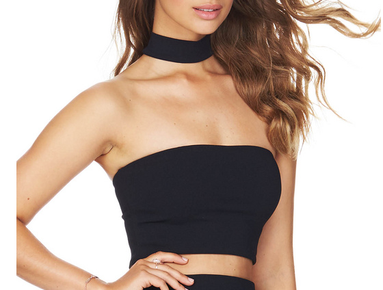 bb6cedd82d81a8 2016 New summer sexy women black white nude red high neck strapless bandage  crop tops vest wholesale