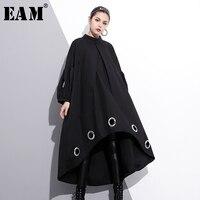 [EAM] 2018 חדש האביב סביב צוואר שרוול ארוך מוצק צבע שחור טבעת מתכת גודל גדול החלול מתוך שמלת גאות אופנה נשים JE29201