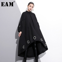 EAM 2018 New Spring Round Neck Long Sleeve Solid Color Black Metal Ring Big Size