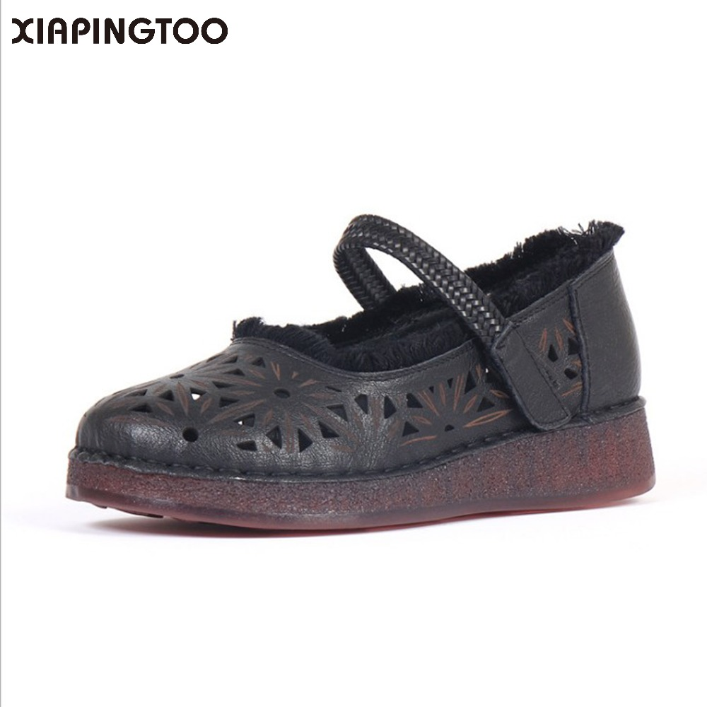 Women' s Sewing Cow Natural Leather Flats Casual Summer Round Toe Shallow Rubber Hollow Hook & Loop comfortable Shoes For Women