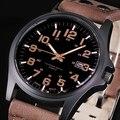 Marca Del Deporte Militar Relojes Moda Casual Reloj de Cuero Análogo de Los Hombres Del Ejército de Cuarzo 2015 Nuevo Lujo Reloj xfcsNEW 8BKT