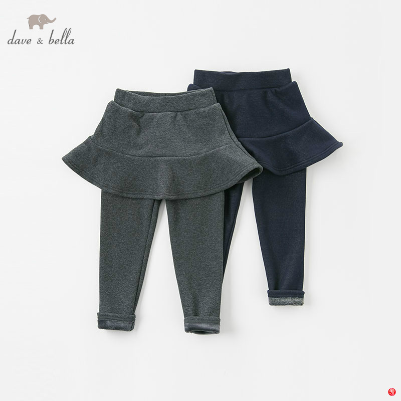 DBK8393 dave bella winter kids 4Y 13Y pants baby girls with ruffles trousers children high quality