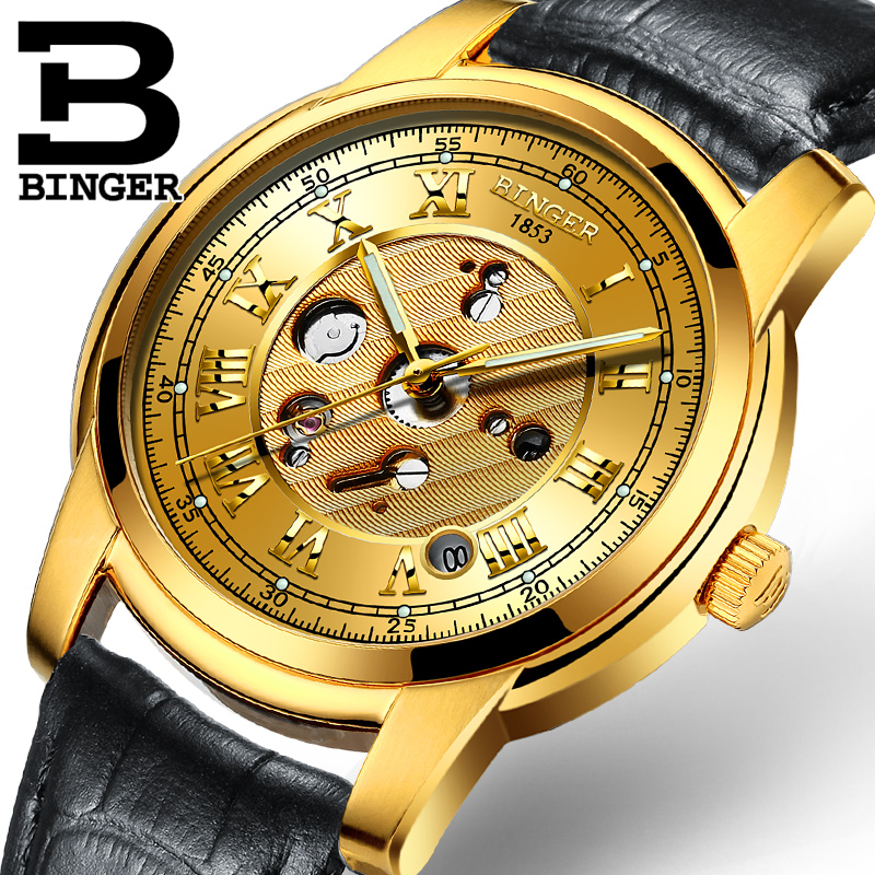 2017 Switzerland Men Watches Automatic Mechanical Binger Luxury Brand Relogio Wrist Watches Male Waterproof Men's Watch B1159G-2 luxury brand watches for men binger dress watch casual crystal automatic wrist steel wristwatch relogio feminino reloj
