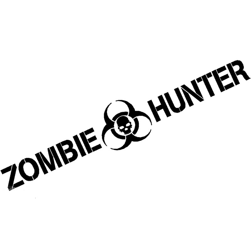 19.5*3.5CM Zombie Hunter Decal Apocalypse Outbreak Response Team Car Sticker Car Styling Car Decoration Black/Sliver C8-0339