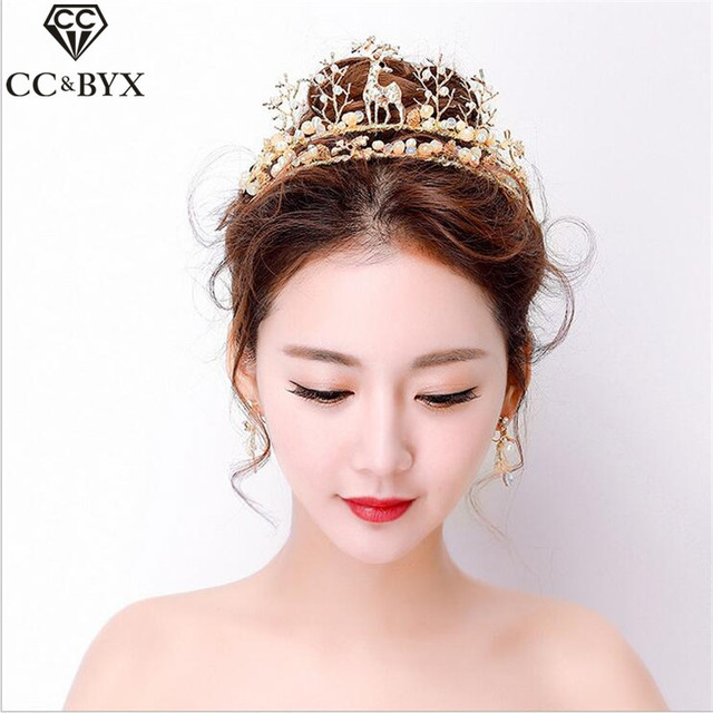 Cc Jewelry Crowns Tiaras Hair Ornaments Crysatl Beads Pearl Wedding Accessories For Women Unique Bridal