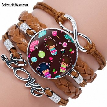 Cute Japanese Kokeshi Doll Glass Cabochon Anime Jewelry With Multilayer Black/Brown Leather Bracelet Bangle For Girls Best Gift 5