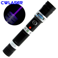 CWLASER Real Power Portable 405nm Focusable Violet Blue Laser Pointer with Dual Lock + Match Lighting (Black)
