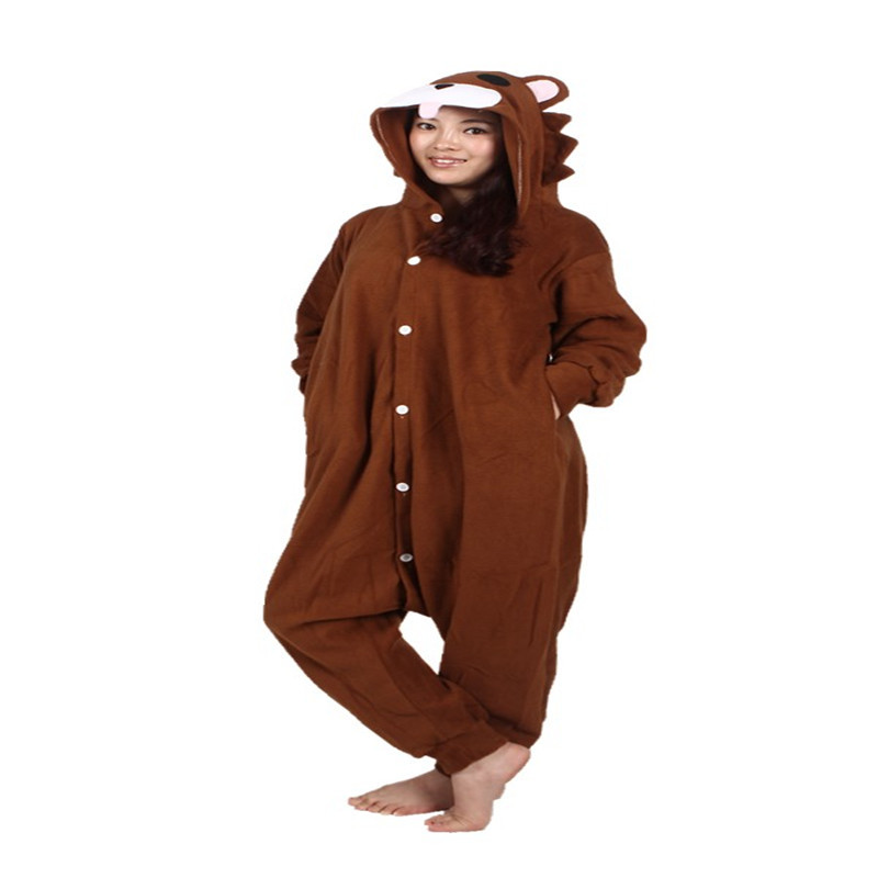 New Regular Funny Animal Brown Bear Sleepsuit Round Neck Solid Casual Homewear Lounge Wear Onesie Pajama Rompers Womens Jumpsuit