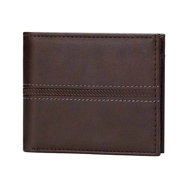 Solid Men's Leather Wallets Bifold Business Men Slim Short Wallet Luxury Design Money Bag Coin Pocket Credit Card Holder Male