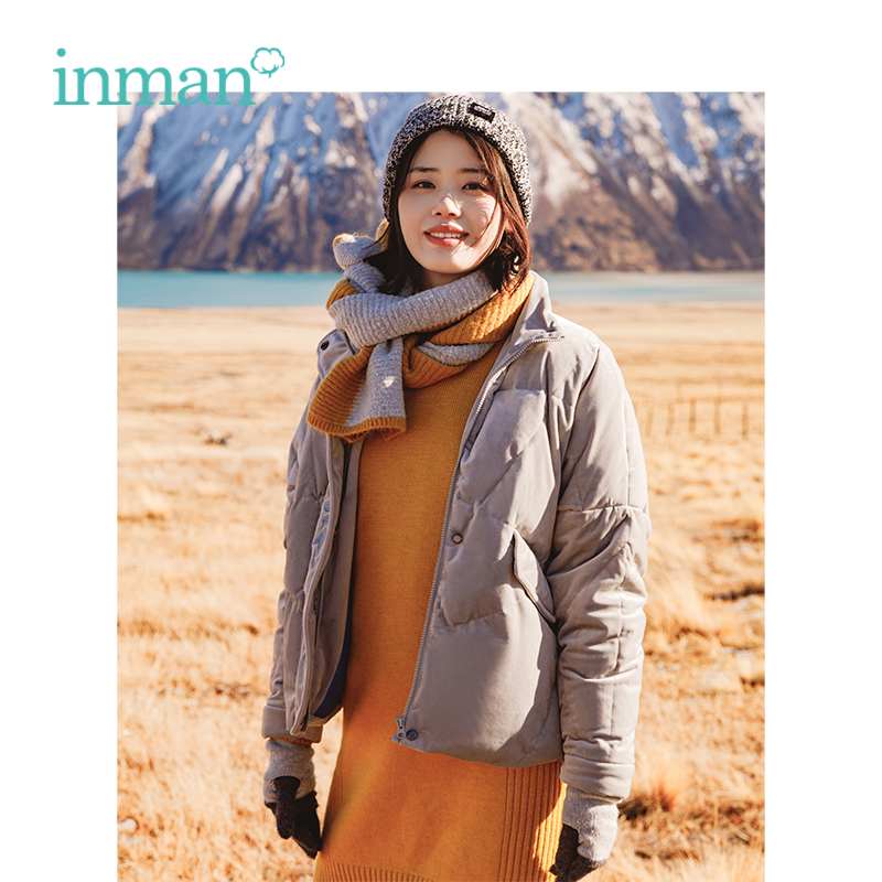 INMAN Winter Artistic Embroidery Women Loose Lazy Style Women Short 100g-150g Lady Down Coat
