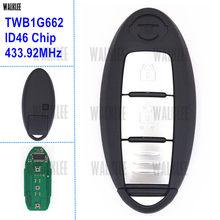 Walklee chave controle remoto inteligente, funciona com nissan micra k13/juke f15/note e12/folha/433.92mhz chip id46