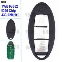 Walkleeスマートリモートキーが日産マイクラk13/ジュークf15/注e12/葉/433.92 mhz/id46チップTWB1G662