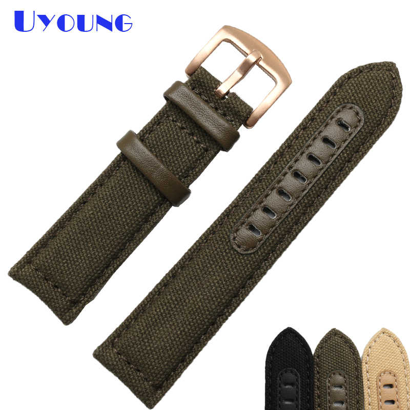 قماش watchband السفلي هو المعصم ووتش حزام جلد طبيعي 20 22 24 ملليمتر النايلون مخيط ووتش حزام