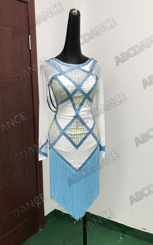 Latin Dance Dress Fringe Tassel Girl Sexy White Light Blue Ballroom Dresses Latin Salsa Costume Latin Dancing Dress Fringe