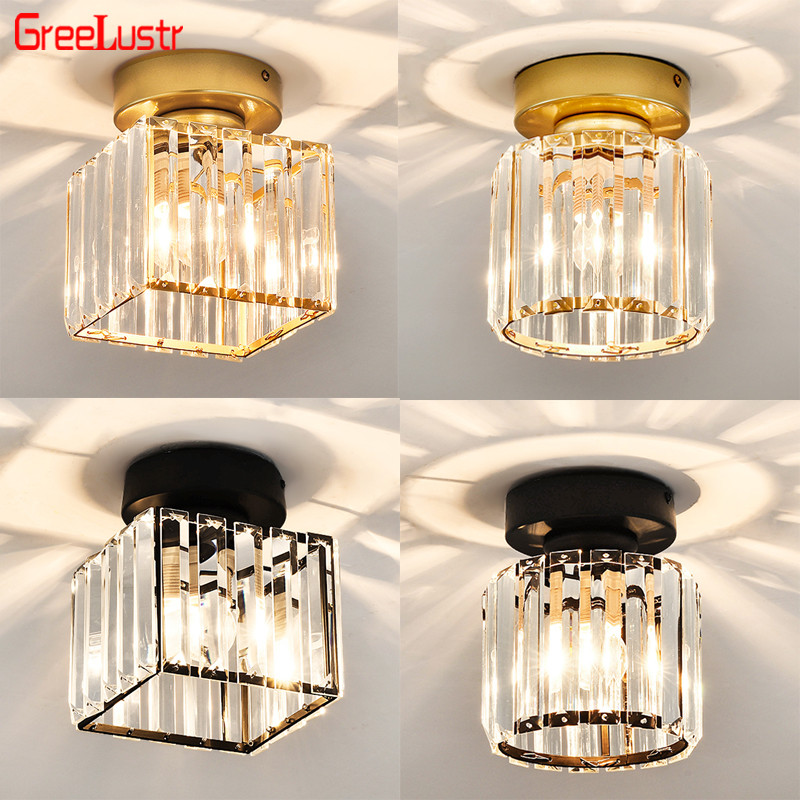 Nordic Crystal LED Ceiling light Fixtures Gold/Black E27 Crystal Plafon Lustres For Living room Ceiling Lamp Home Decoration