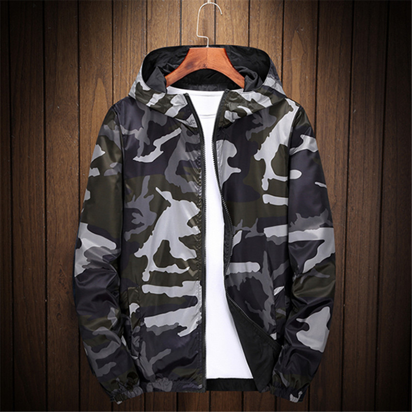 Mens jackets and coats Bomber Jacket Men hoodies zipper Coat Camouflage Both Side Wear Pilot Men Wind Breaker jacket 6XL 7XL 8XL