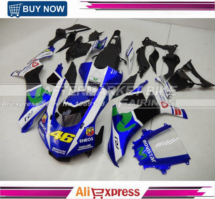 Doctor VR46 Rossi Movistar R1 2015 MotoGP Monster Motorcycle Fairing Bodywork For Yamaha YZF R1 2016 Complete Fairings 2017 valentino rossi vr46 for yamaha racing blue motogp mens felpa zip up sweater