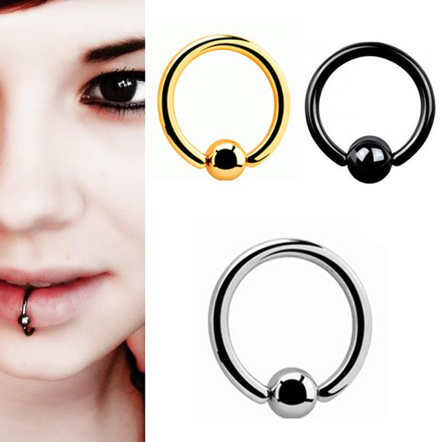 Cool Stainless Steel Captive Bead Rings/Lip Rings Lot/3pcs