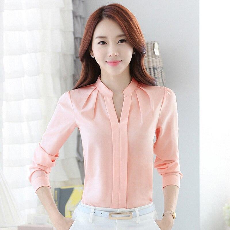FGLAC Chiffon blouses New 2018 Women shirt Fashion Casual Long-sleeved chiffon shirt Elegant Slim Solid color lady blusas shirt