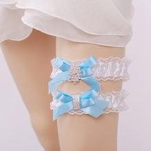 7c17ca9b6 Casamento Laço de fita Ligas de Strass Branco Sexy Ligas 2 pcs set para As  Mulheres Noiva Acessório Anel Nupcial Leg Garter Coxa.