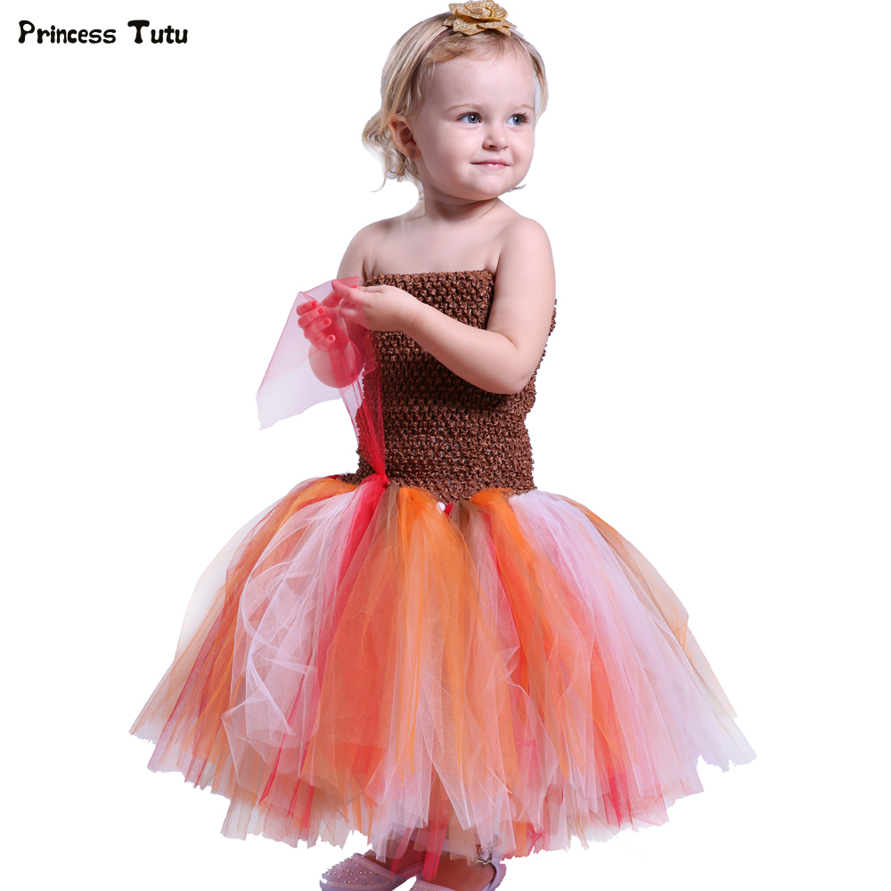 Baby Girls Halloween Tutu Dress Princess Brown Tulle Girl Party Dress Knee-Length Kids Girl Carnival Performance Dress Costumes tulle trim layered knee length tee dress