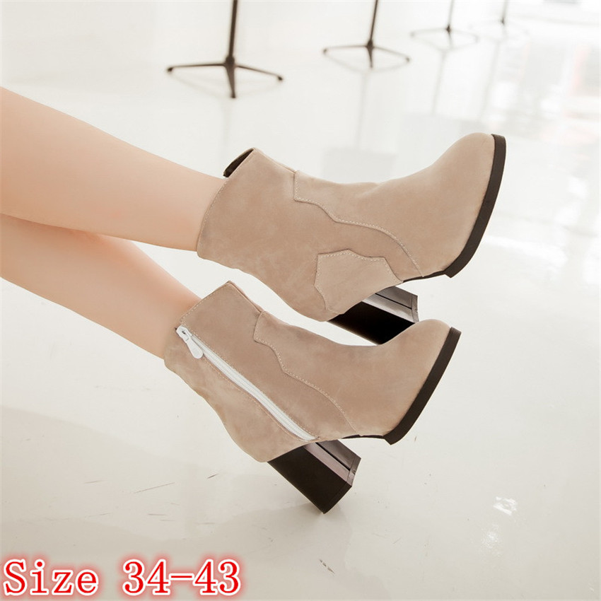 Spring Autumn Winter Women Mid Calf Boots Thick High Heels Woman Short Boots Shoes High Quality Plus Size 34-40.41.42.43 botas genuine leather square toe mid calf boots autumn winter boots warm shoes woman thick high heels shoes for women boots