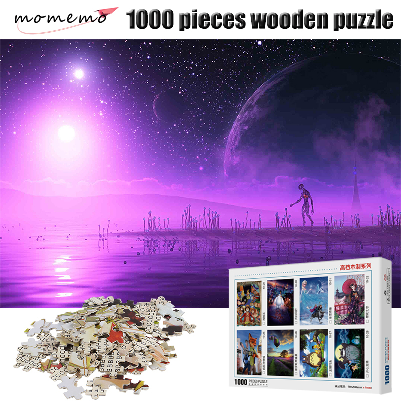 MOMEMO Purple Planet Jigsaw Puzzles 1000 for Adults Puzzle Games 1000 Pieces Wooden Puzzle Toy Jigsaw Puzzles for Children Kids