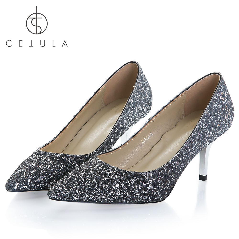 f869419a3303 Cetula 2018 Handcrafted GOLD Metal Kitten Heel Silver-Grey Glitter  WEDDING/BANQUET/PARTY/EVENING/COCKTAIL Female Slip-on Shoes