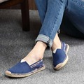 Cozy espadrilles Vintage Straw Brims Flats Shoes for Women Unisex Cow Muscle Sole High Quality Slip On Casual Plus Size 35-44