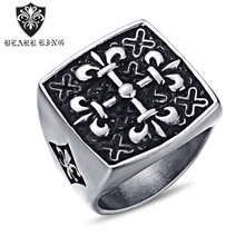 Yak Horn Ring Vintage Stainless Steel Flower Ring Titanium Steel Personality Creative Hand Jewelry rhinestone vintage flower ring