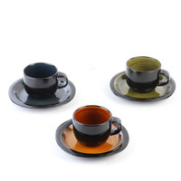 Free Shipping Creative European style Latte Art Ceramic Coffee Cup Vintage Gradient Color Crop Circl Coffee Cup And Saucer Sets