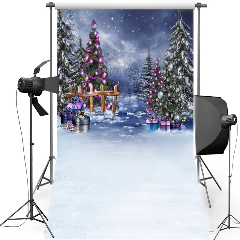 MEHOFOTO Forest Tree New Fabric Flannel Photography Background Merry Christmas Backdrop Vinyl For Family photo studio ST459