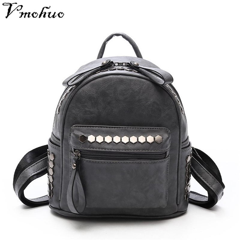 VMOHUO Vintage Women School Backpacks Mini Women Backpacks Fashion Leather Travel Backpacks For Teenager Girls Mochilas Mujer