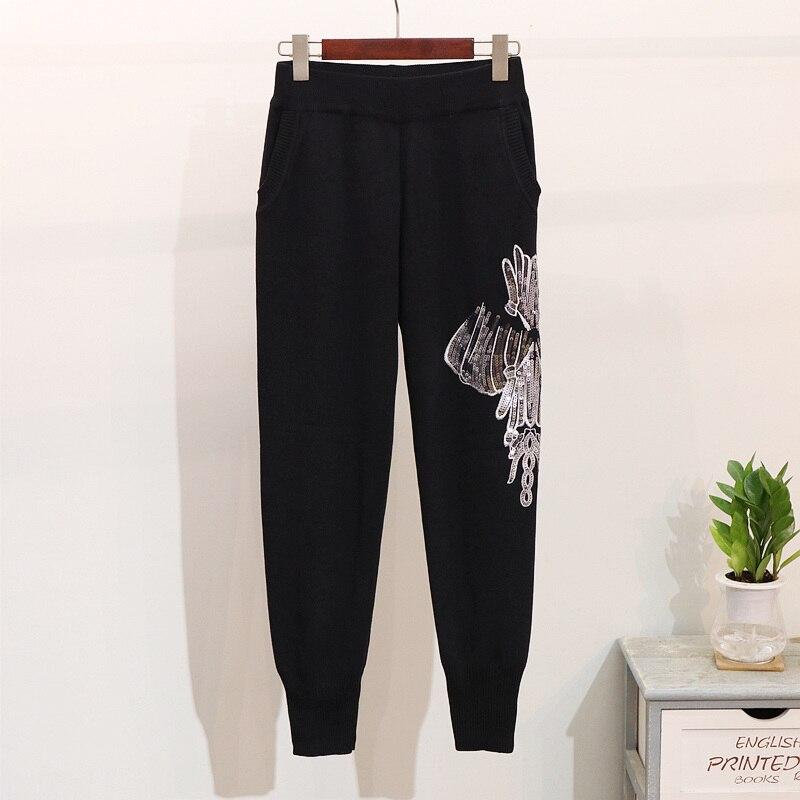 2018 Pantalon Tricots Deux Pièces Noir En Automne Paillettes Nouvelle Femme gris Casual Définit Survêtements Costume Pull Chandail Broderie Hiver g6grEWOnwp
