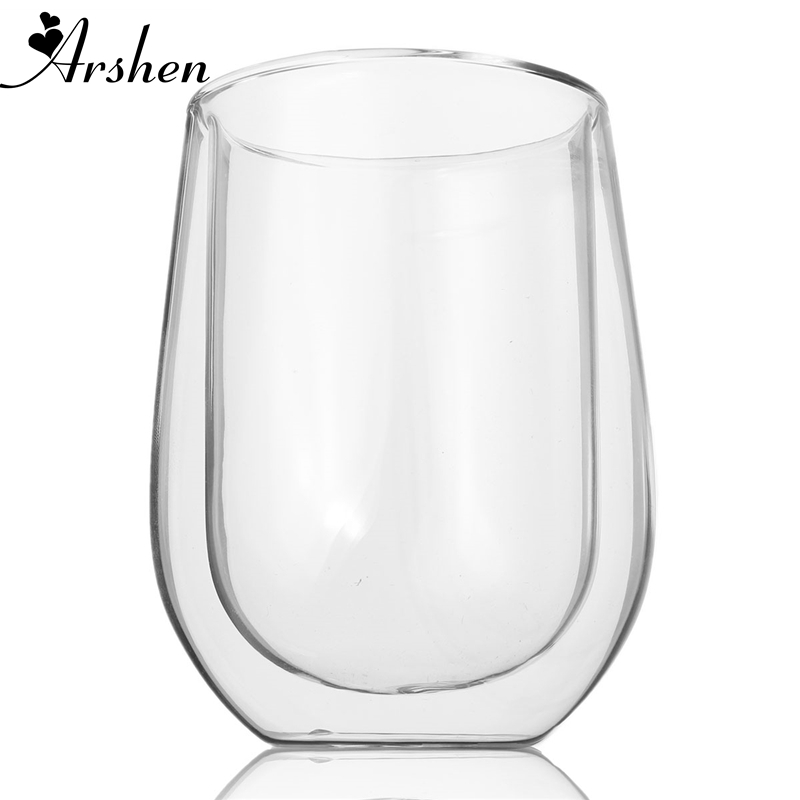 Arshen Top Sale 250ml Double Wall Egg Shape Glass Coffee Mug High Temperature Resistant Mugs and Cups Glassware Drinkware