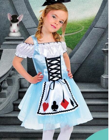 Halloween Maid Costumes kid child 106-140cm Alice in Wonderland Costume Suit Maids Lolita Fancy Dress Cosplay Costume for Girl