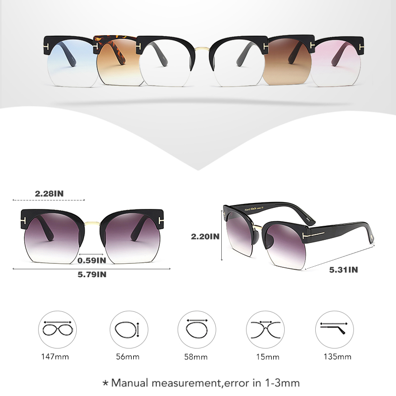 cde0b8d428a ROYAL GIRL New Square Brand Design Women Rimless Sunglasses Ladies Pink  Blue Transparent Gradient Lens Unisex Glasses SS162-in Sunglasses from  Apparel ...