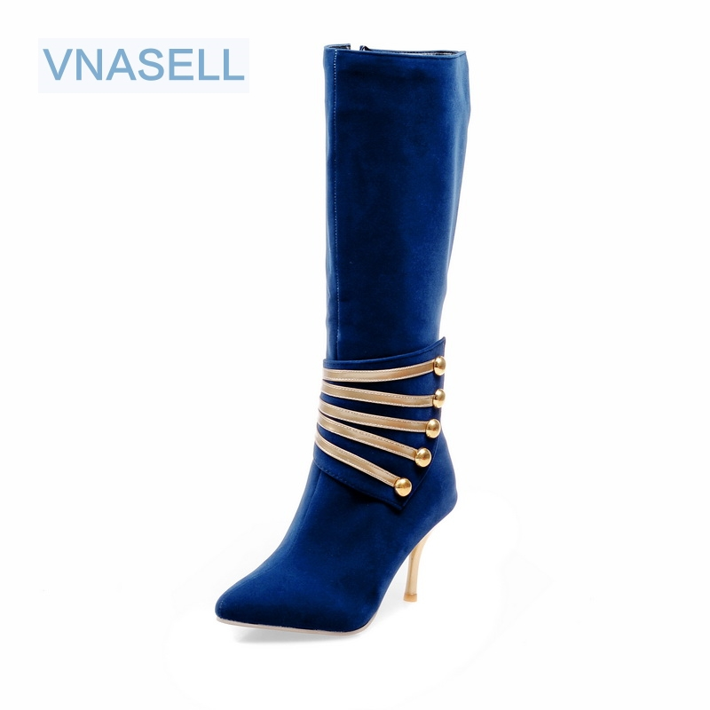 Vnasell 2017 fashion winter women shoes sexy Pointed Toe red high heels Mixed Colors flock Knee High boots size 32 33 40-45
