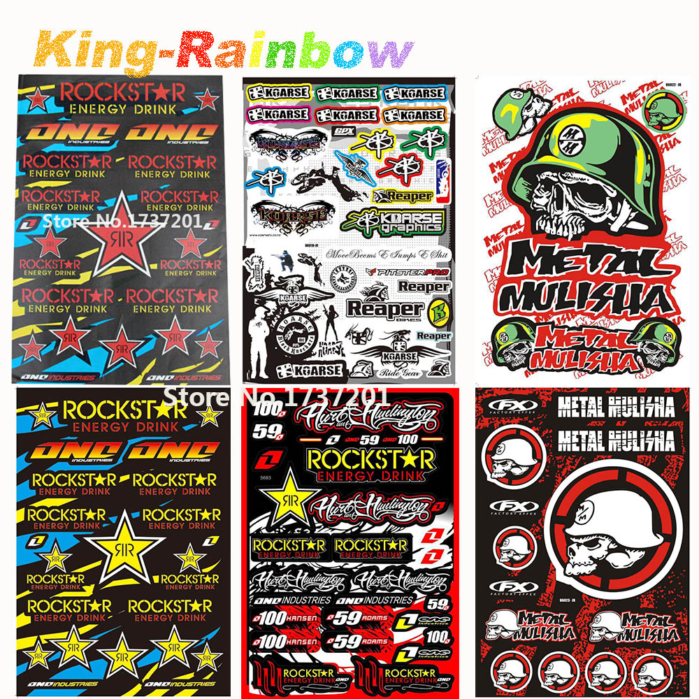 Big bike sticker design - Big Size 45cm X 30cm Rockstar Skull Stickers For Motorcycle Bike Car Unit Scooter Funny Decals Stickers Pvc Waterproof