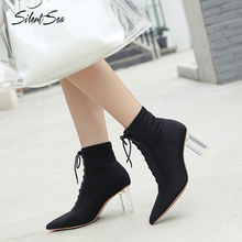 Silentsea Women Boots Pointed Toe Fashion Spike High Heels Shoes Strap Design Flock Boots Sexy shoes цена и фото
