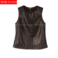 SHILO GO New Fashion Street Women Sexy Colors Short O Neck sheepskin Genuine Leather sleeveless Halter Shirt Ladies short Shirt