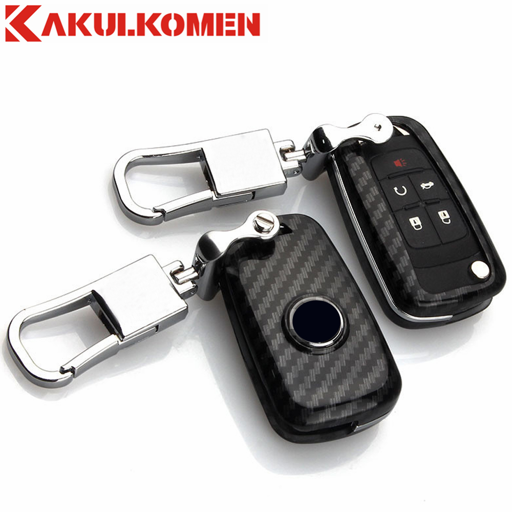 Interior Accessories Carbon Fiber Silica Gel Car Remote Flip Key Case Cover For Chevrolet Spark Aveo Malibu Cruze Volt Camaro Equinox Sonic Buick Key Case For Car