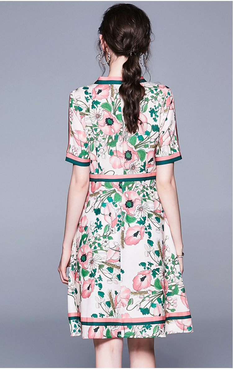 Vintage Elegant Long Sleeve Belted Collar Floral Print Dress 4