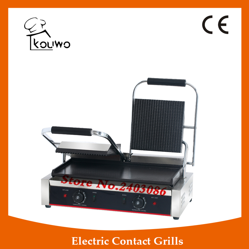 commercial table counter top kitchen equipment Stainless steel non-stick double plate electric steak bbq panini contact grill commercial non stick electric 220v countertop table top teppanyaki plate panini contact griddle